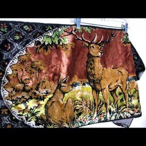 Vintage 70's Velvet Deer Tapestry